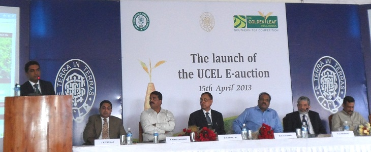 Mr.C.Shreedharan, Convenor, TGLIA Southern Tea Competition Organising Committee delivering his vote of thanks at the 'Launching the UPASI Commodities Exchange Limited (UCEL) E-auction of The Golden Leaf India Awards (TGLIA) teas at UPASI